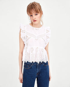 ZA Top with Cutwork Embroidery