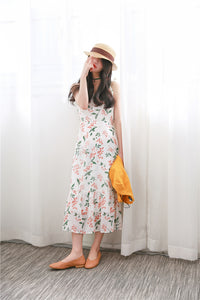 Floral Maxi Dress with Ruffle Ham