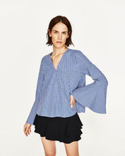 ZARA Inspired Gingham Top Bell Sleeves