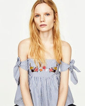 ZARA Inspired Striped Off Shoulder Top with Embroidery