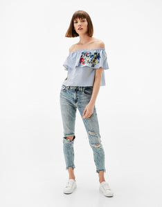 Bershka Inspired Off Shoulder Embroidery Flower Top