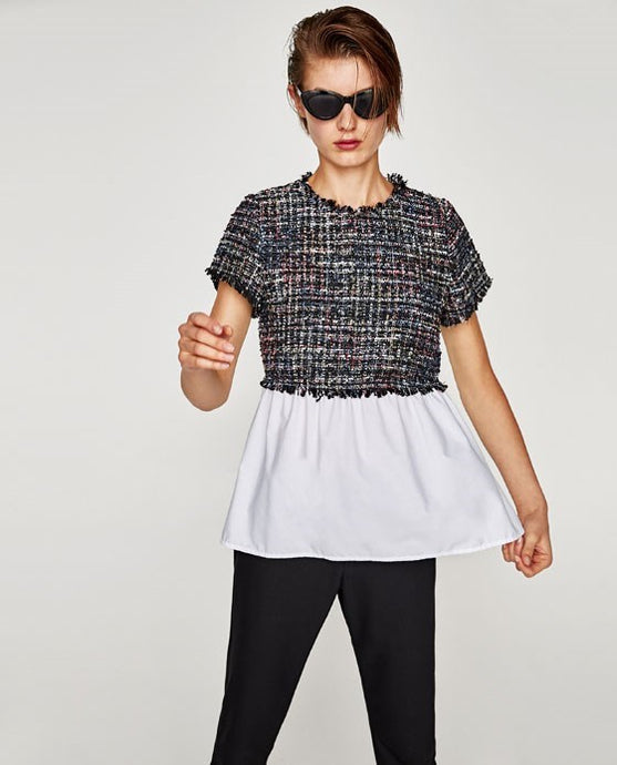ZARA Inspired Contrasting Tweed Top