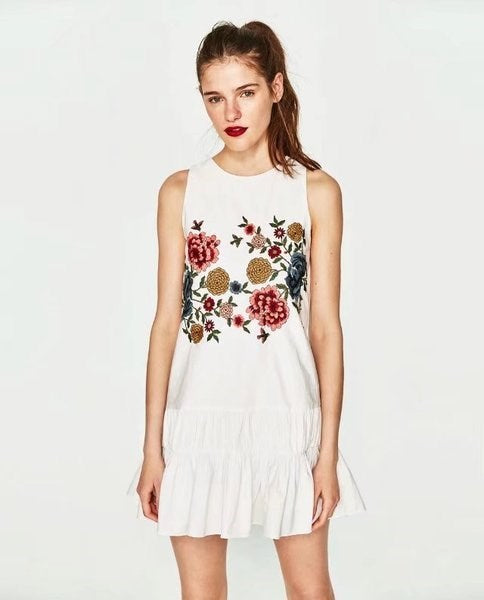 Embroidery Dress with Ruffles