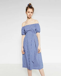 Midi Poplin Dress in Blue