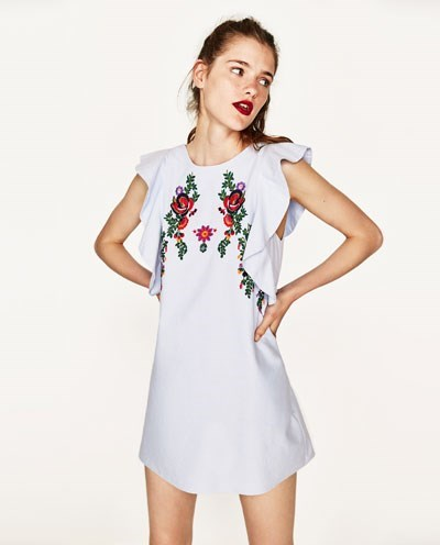 Embroidery Dress with Frill