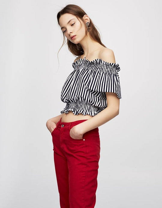 Striped Top With Back Bow