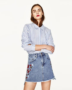 ZARA Inspired Floral Embroidered Denim Skirt