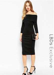 ASOS Inspired Off The Shoulder Bardot Midi Bodycon Dress
