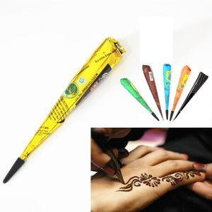 1 Piece Black Color Indian Henna Paste Cone Beauty Women Mehndi Finger Body Cream Paint DIY - MBMCITY