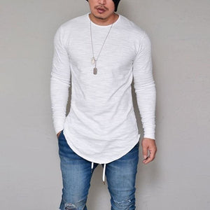 10 Colors Plus Size S-4XL 5XL Summer&Autumn Fashion Casual Slim Elastic Soft Solid Long Sleeve Men T