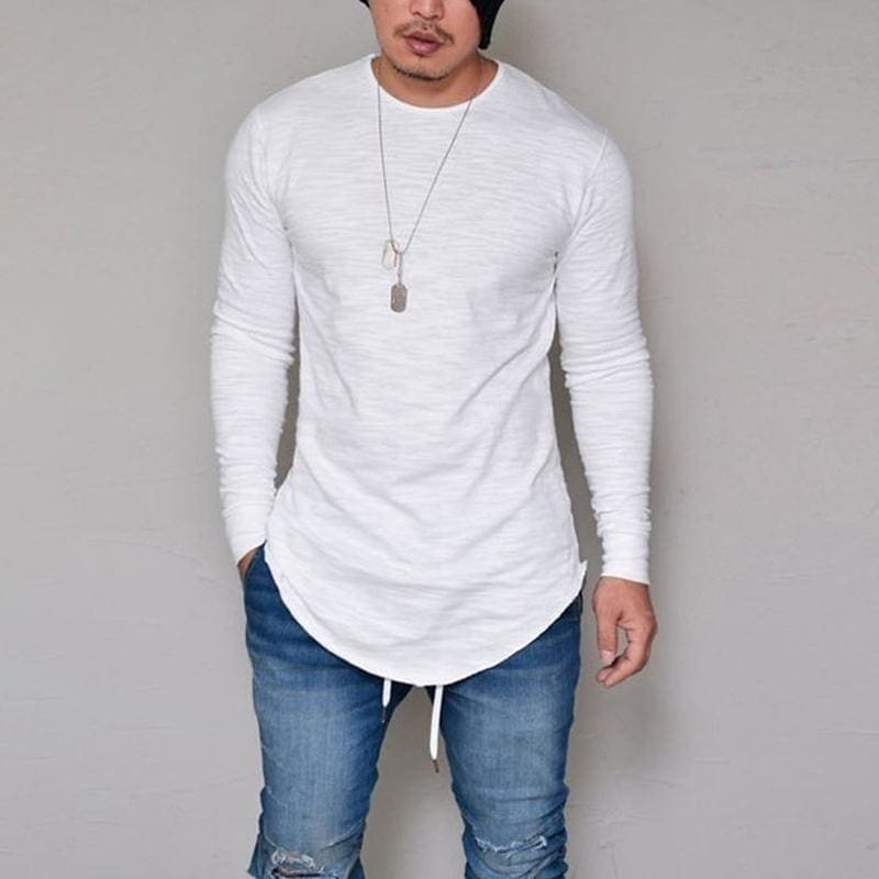10 Colors Plus Size S-4XL 5XL Summer&Autumn Fashion Casual Slim Elastic Soft Solid Long Sleeve Men T - MBMCITY
