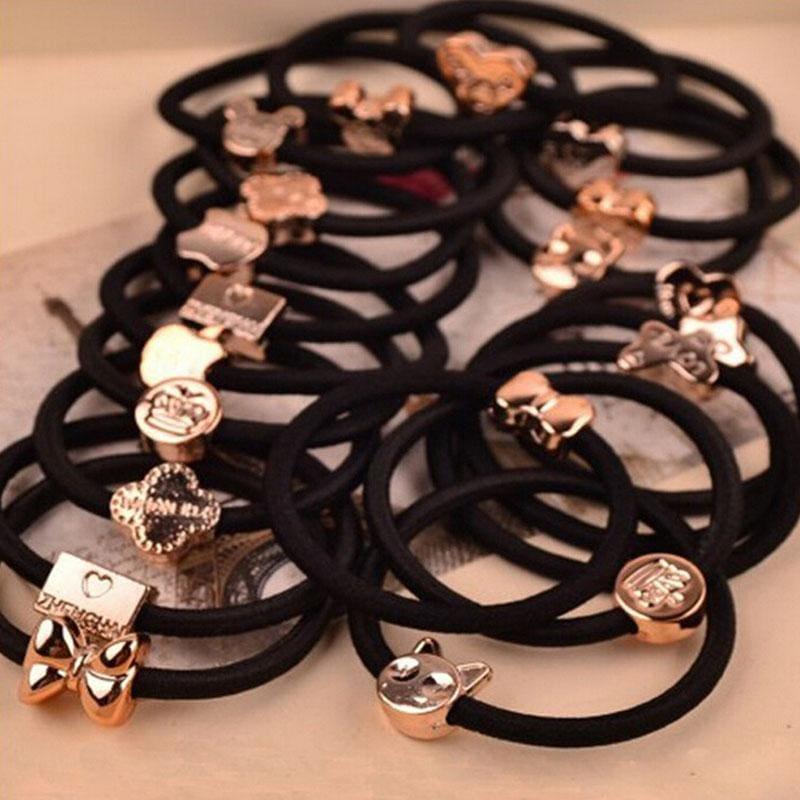 10 Pcs New Korean Fashion Women Hair Accessories Cute Black Elastic Hair Bands Girl Hairband Hair