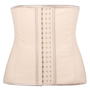 100% Latex Waist Trainer Corset 9 Steel Bone Shapewear Hot Body Shapers Women Corset Slimming Belt Beige / S / China