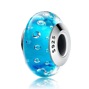 100% Real 925 Sterling Silver Effervescence Murano Glass Beads Fit Original pandora Charm Bracelet - MBMCITY
