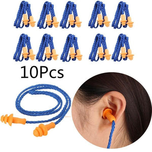 10Pcs Soft Silicone Corded Ear Plugs Ears Protector Reusable Hearing Protection Noise Reduction