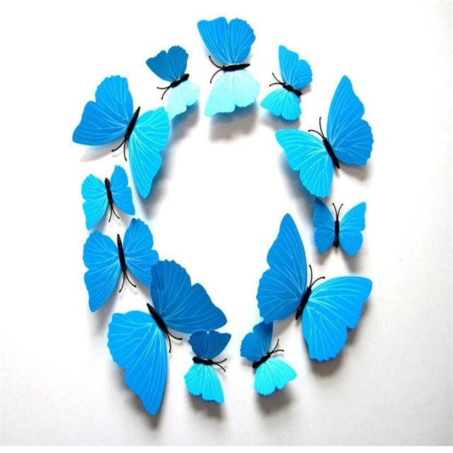 12 Pcs/Lot PVC Butterfly Decals 3D Wall Stickers Home Decor Poster for Kids Rooms Adhesive to Wall Blue strip