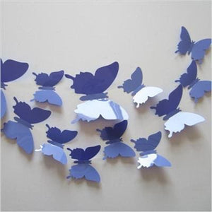 12 Pcs/Lot PVC Butterfly Decals 3D Wall Stickers Home Decor Poster for Kids Rooms Adhesive to Wall PurpleBlue