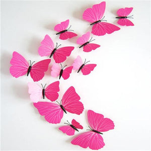 12 Pcs/lot Pvc Butterfly Decals 3D Wall Stickers Home Decor Poster For Kids Rooms Adhesive To Wall Pink Strip