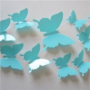 12 Pcs/Lot PVC Butterfly Decals 3D Wall Stickers Home Decor Poster for Kids Rooms Adhesive to Wall SkyBlue