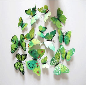12 Pcs/Lot PVC Butterfly Decals 3D Wall Stickers Home Decor Poster for Kids Rooms Adhesive to Wall Green