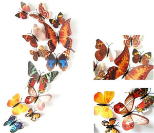 12 Pcs/Lot PVC Butterfly Decals 3D Wall Stickers Home Decor Poster for Kids Rooms Adhesive to Wall Brown Strip