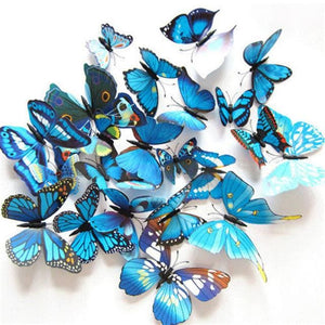 12 Pcs/Lot PVC Butterfly Decals 3D Wall Stickers Home Decor Poster for Kids Rooms Adhesive to Wall Blue