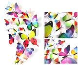 12 Pcs/Lot PVC Butterfly Decals 3D Wall Stickers Home Decor Poster for Kids Rooms Adhesive to Wall Rainbow
