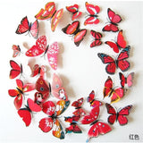 12 Pcs/Lot PVC Butterfly Decals 3D Wall Stickers Home Decor Poster for Kids Rooms Adhesive to Wall Red strip