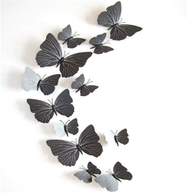 12 Pcs/Lot PVC Butterfly Decals 3D Wall Stickers Home Decor Poster for Kids Rooms Adhesive to Wall black strip