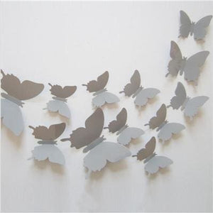12 Pcs/Lot PVC Butterfly Decals 3D Wall Stickers Home Decor Poster for Kids Rooms Adhesive to Wall Gray