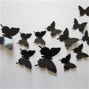 12 Pcs/Lot PVC Butterfly Decals 3D Wall Stickers Home Decor Poster for Kids Rooms Adhesive to Wall Black