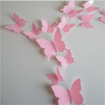 12 Pcs/Lot PVC Butterfly Decals 3D Wall Stickers Home Decor Poster for Kids Rooms Adhesive to Wall Pink