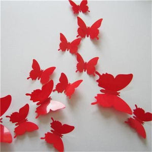 12 Pcs/Lot PVC Butterfly Decals 3D Wall Stickers Home Decor Poster for Kids Rooms Adhesive to Wall Red