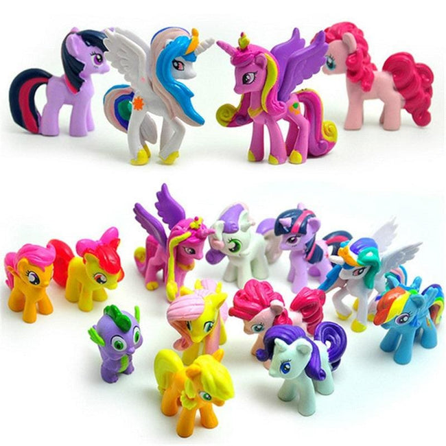 12 pcs/set 3-5cm cute pvc horse action toy figures toy doll Earth ponies Unicorn Pegasus Alicorn Bat - MBMCITY
