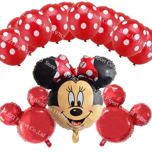 13Pcs/lots Minnie Mouse Theme Party Decoration Combination Suit Balloons Happy Birthday Party Dot C