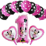 13Pcs/lots Minnie Mouse Theme Party Decoration Combination Suit Balloons Happy Birthday Party Dot A1