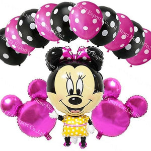 13Pcs/lots Minnie Mouse Theme Party Decoration Combination Suit Balloons Happy Birthday Party Dot O