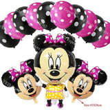 13Pcs/lots Minnie Mouse Theme Party Decoration Combination Suit Balloons Happy Birthday Party Dot U