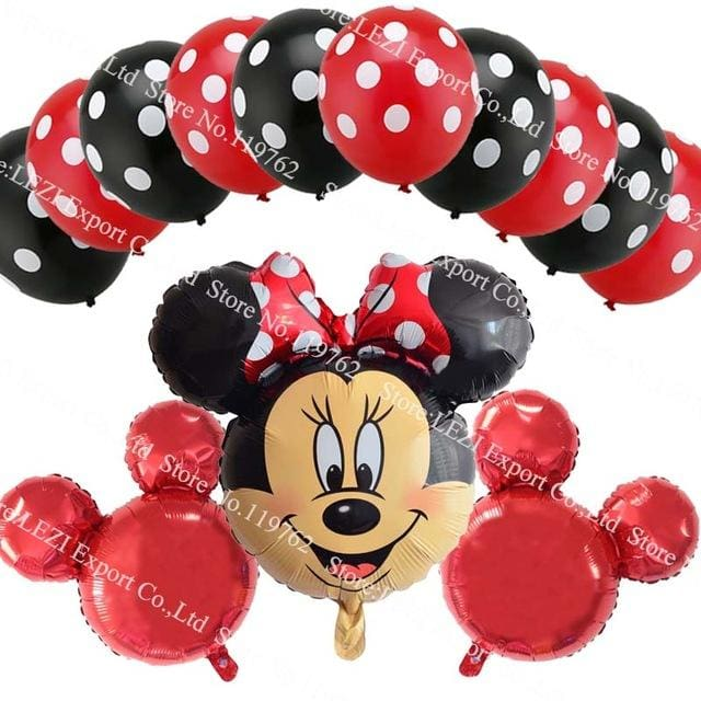 13Pcs/lots Minnie Mouse Theme Party Decoration Combination Suit Balloons Happy Birthday Party Dot A