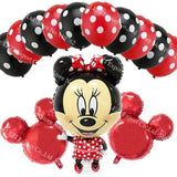 13Pcs/lots Minnie Mouse Theme Party Decoration Combination Suit Balloons Happy Birthday Party Dot M