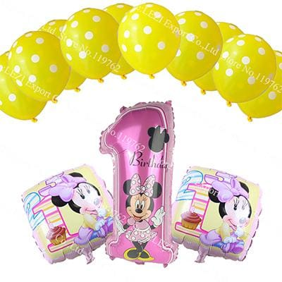 13Pcs/lots Minnie Mouse Theme Party Decoration Combination Suit Balloons Happy Birthday Party Dot Cc