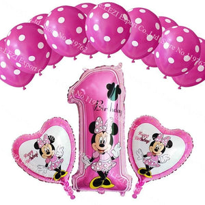 13Pcs/lots Minnie Mouse Theme Party Decoration Combination Suit Balloons Happy Birthday Party Dot