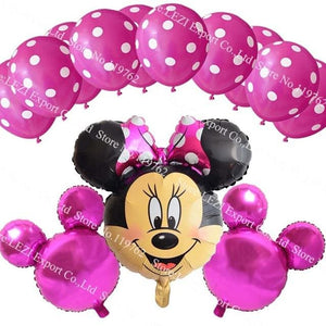 13Pcs/lots Minnie Mouse Theme Party Decoration Combination Suit Balloons Happy Birthday Party Dot D