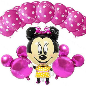 13Pcs/lots Minnie Mouse Theme Party Decoration Combination Suit Balloons Happy Birthday Party Dot R