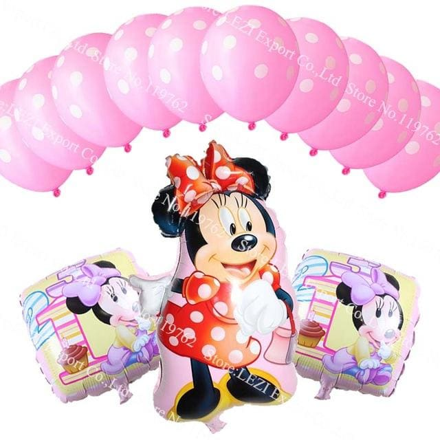 13Pcs/lots Minnie Mouse Theme Party Decoration Combination Suit Balloons Happy Birthday Party Dot N