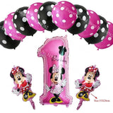 13Pcs/lots Minnie Mouse Theme Party Decoration Combination Suit Balloons Happy Birthday Party Dot Ch