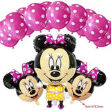 13Pcs/lots Minnie Mouse Theme Party Decoration Combination Suit Balloons Happy Birthday Party Dot X