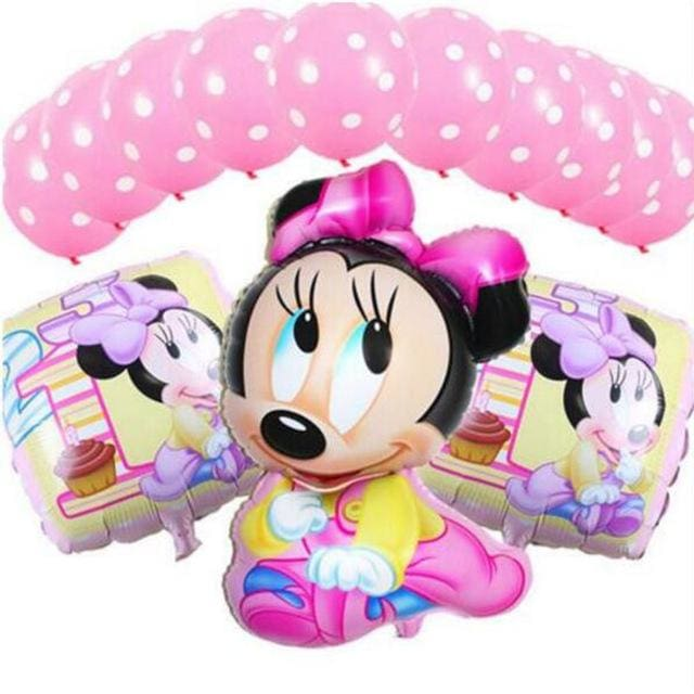 13Pcs/lots Minnie Mouse Theme Party Decoration Combination Suit Balloons Happy Birthday Party Dot I