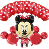 13Pcs/lots Minnie Mouse Theme Party Decoration Combination Suit Balloons Happy Birthday Party Dot Q