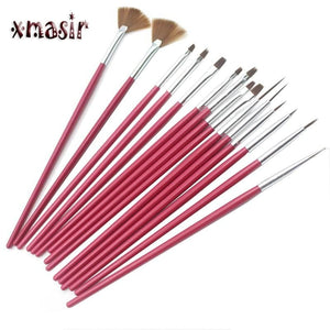 15PCS/Set Face Body Paint Brushes Professional Nylon Hair Painting Nail Brush Set Plastic Handle